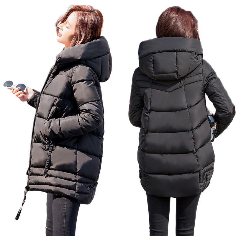 Нерегулярная зимняя куртка Женщина Плюс Размер Женской ветровки сгущает Верхняя одежда Твердого капюшона пальто Женщина Тонкий хлопок проложенного Основные Tops