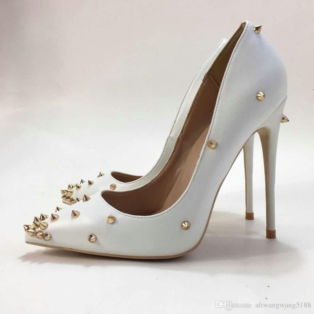 2019 modo libero di trasporto delle donne della signora punte d'oro in pelle bianca Poined Toes tacchi alti Tacchi alti scarpe Tacco a spillo pompe 12 cm 10 cm 8 CM