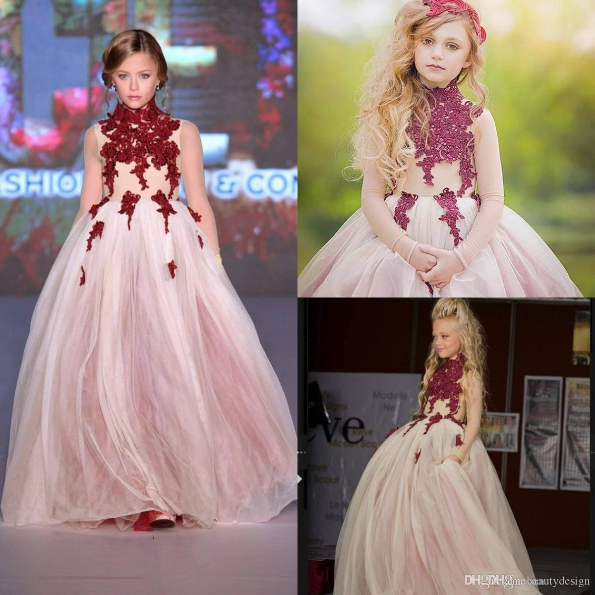 A Line High Neck Flowers Girls Dresses Burgundy Lace Applique Long Sleeve Teens Princess Pageant Gowns Prom Wedding Party Dress Custom