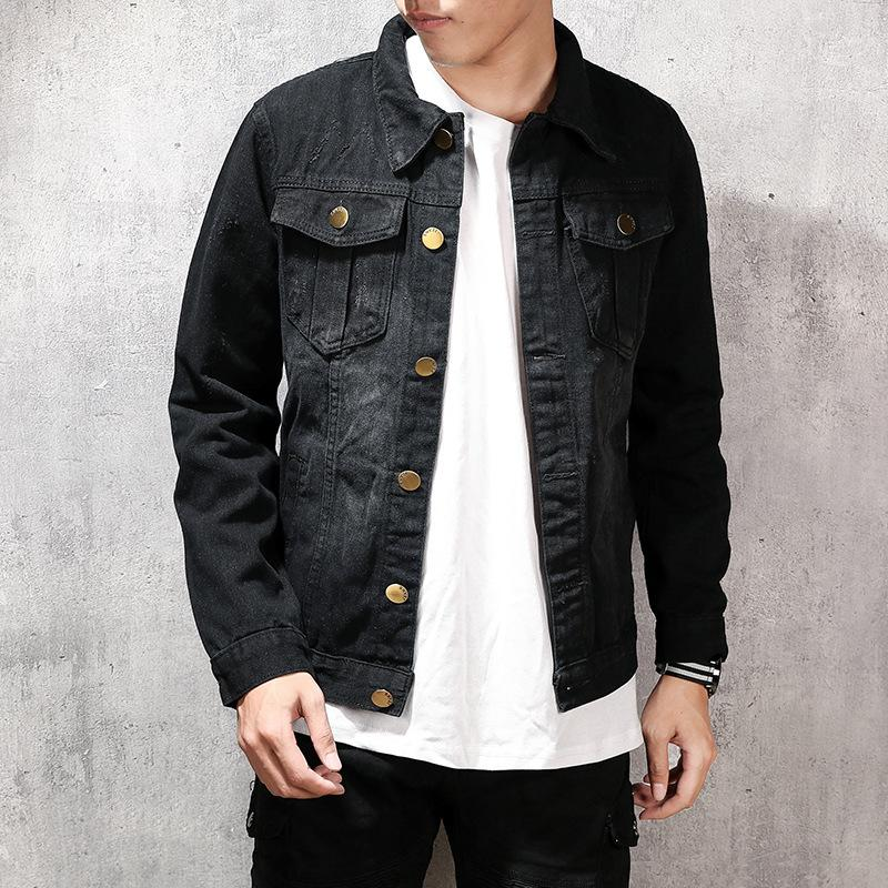 Jeans Coat Men's Jacket Casual Men's Wear Black Top Japanese-style Plus-sized Large Size