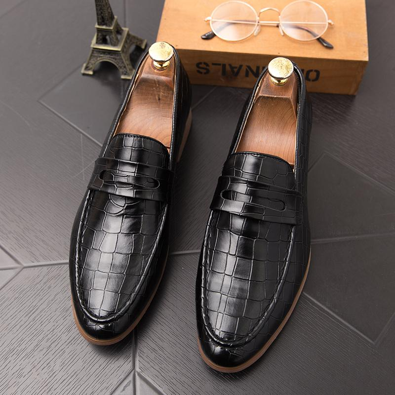 뜨거운 판매-럭셔리 남성 악어 신발 웨딩 블랙 정장 레이스 옥스포드 가죽 인쇄 파티 비즈니스 남성 드레스 갈색 신발 큰 크기 47