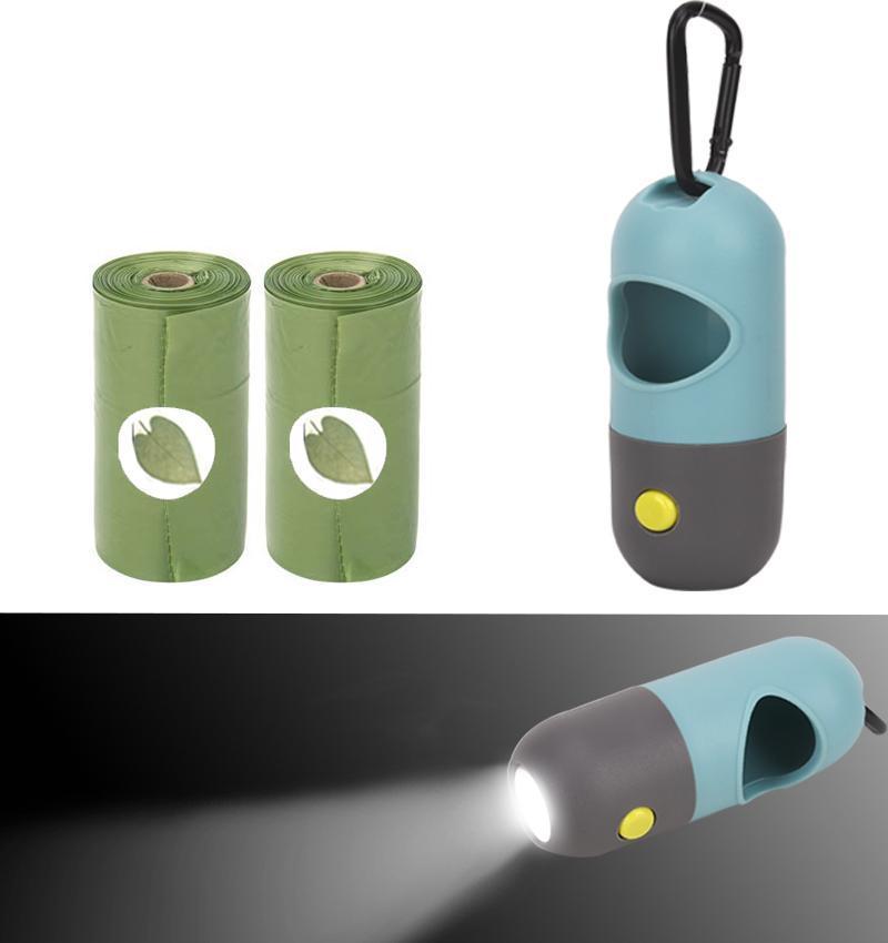 개 똥 가방 디스펜서 LED 라이트 폐기물 가방 디스펜서 애완 동물 가죽 끈을 위해 적합하지 배터리 애완 동물 분해성 똥 가방 포함