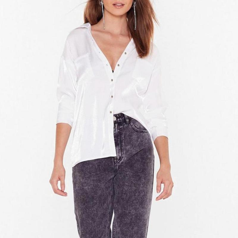 Kadınlar Moda Casual Toplama Yaka Katı Düğme şifon Gömlek Bluz Uzun Kollu Düğme Cep İpek Gömlek Bluz 2020