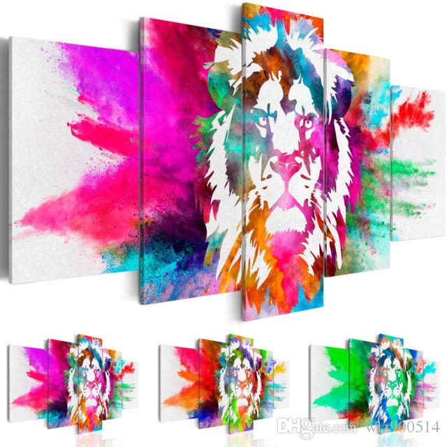 Fashion Wall Art Canvas Painting 5 Pieces Orange Green Purple Watercolor Animal Lion Modern Home Decoration,Choose Color And Size No Frame