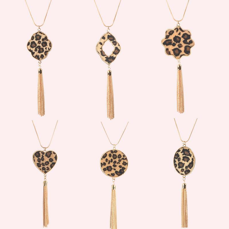 Collar de tono oro de la manera cadena de la serpiente del guepardo del leopardo del cuero de la PU de Quatrefoil floral oval geométrica colgante, collar de cuero de piel animal