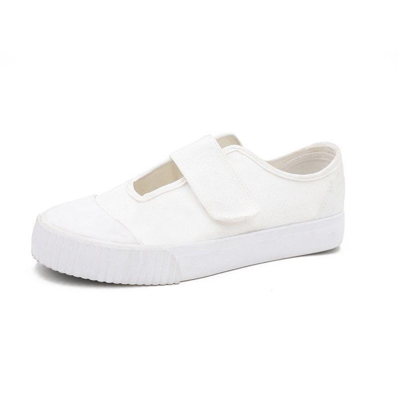 Zapatos de vulcanización blancos / negros casuales Zapatos de lona para mujer Zapatillas de deporte de mujer Plataforma Zapatillas de deporte para mujer Estilo coreano Pisos de enfermera antideslizantes