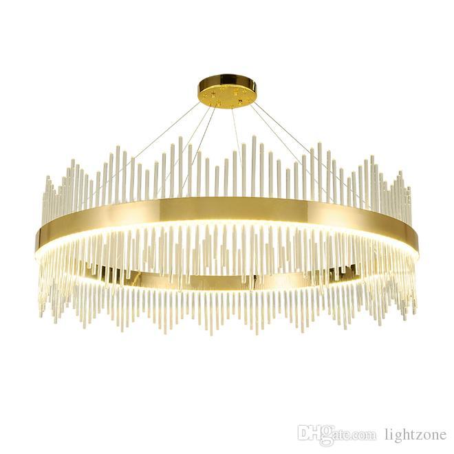 Çağdaş yuvarlak kristal avize ışığı altın lüks kolye avizeler aydınlatma oturma odası yatak odası lambaları çalışma odası asılı led