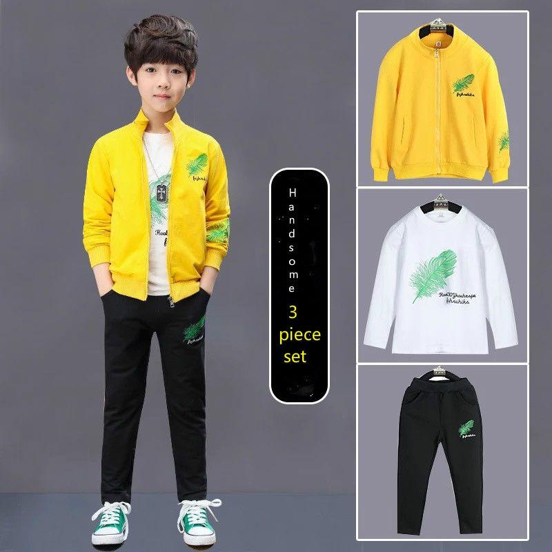 3 مجموعات ملابس الأطفال مجموعة الخريف والشتاء الصبي سترة + سروال بنطلون قميص أزياء الرياضة والتطريز الريشة معطف طويل الأكمام