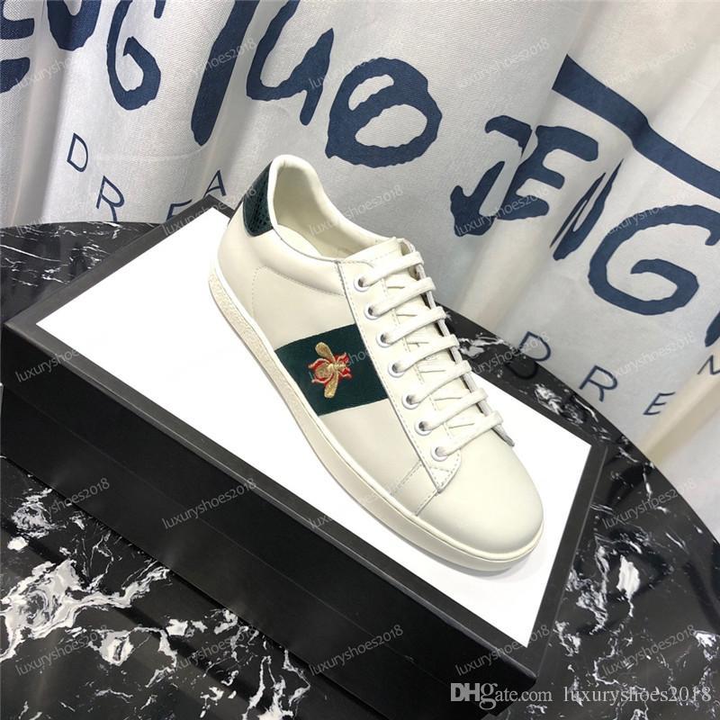 Hommes Femmes Chaussures pas cher espadrille Low Top Sneakers de cuir brodé Ace Bee Tiger Stripes Chaussures Formateurs de marche