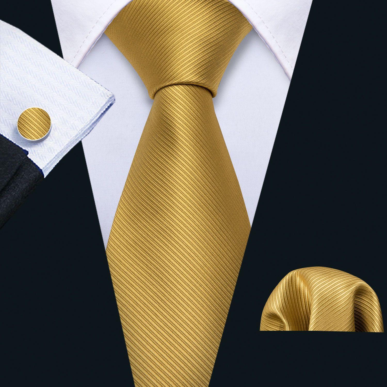 Быстрая доставка шелковый галстук набор желтые твердые твиду мужские оптовые классические жаккардовые тканые галстуки карманные квадратные запонки свадебный бизнес N-5244