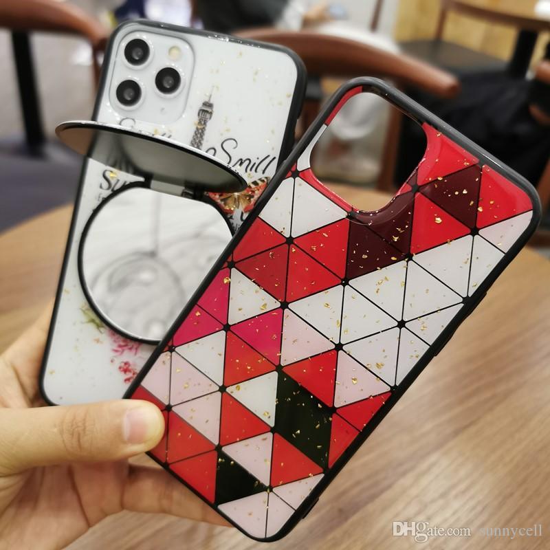 kickstand Caixa do espelho Suporte Função Epoxy design capa para Samsung A10 M30 A40S M20 M10 A70 A60 A80 A90 M40 A10S A20S M30S A90 A20E A10E