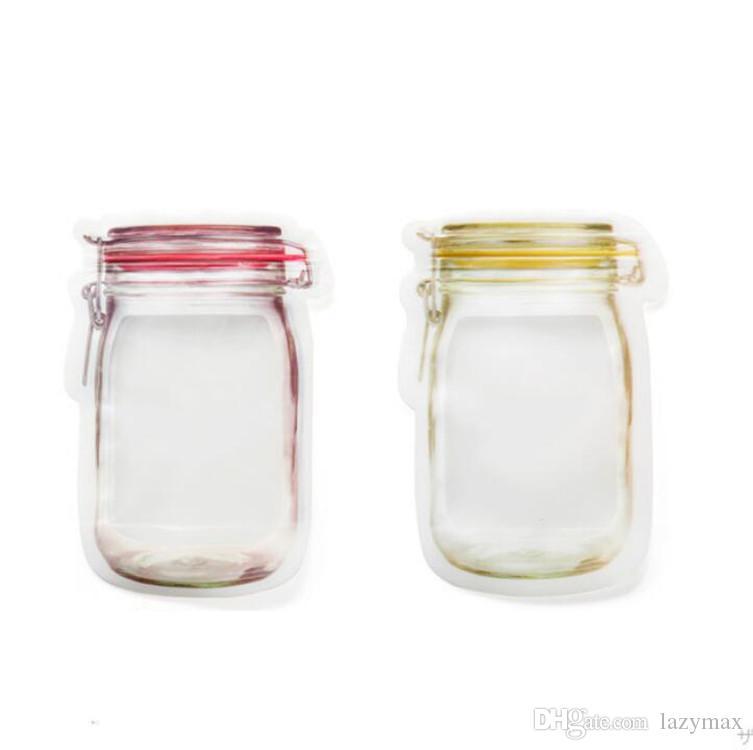 Forma Bottiglia di Muratore Sacchetto a Chiusura Lampo Sigillato Snack Sandwich Sandwich Trasparente 10 pezzi Riutilizzabili Sacchetti di Cibo in Silicone Sacchetto di Immagazzinaggio Portatile