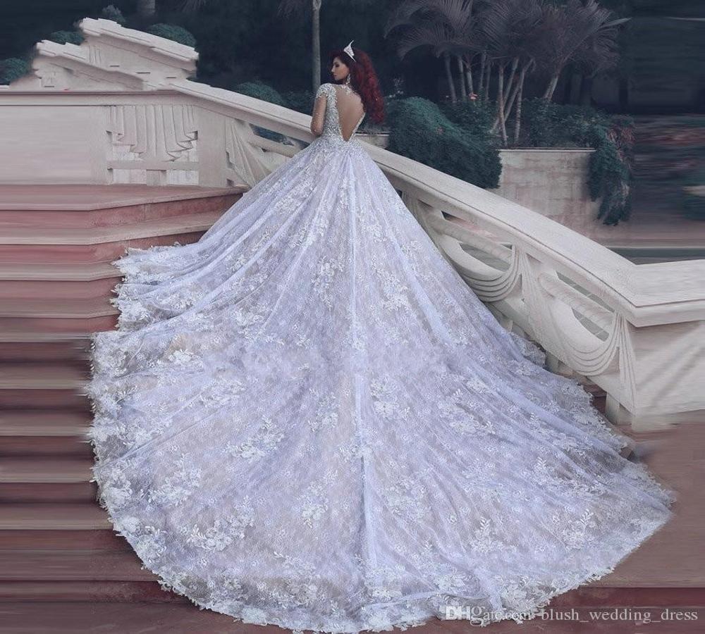 Cristalli Abiti in rilievo abito da O-collo di lusso a sfera a maniche lunghe abiti da sposa bianco da sposa Abiti De Noiva abiti di nozze