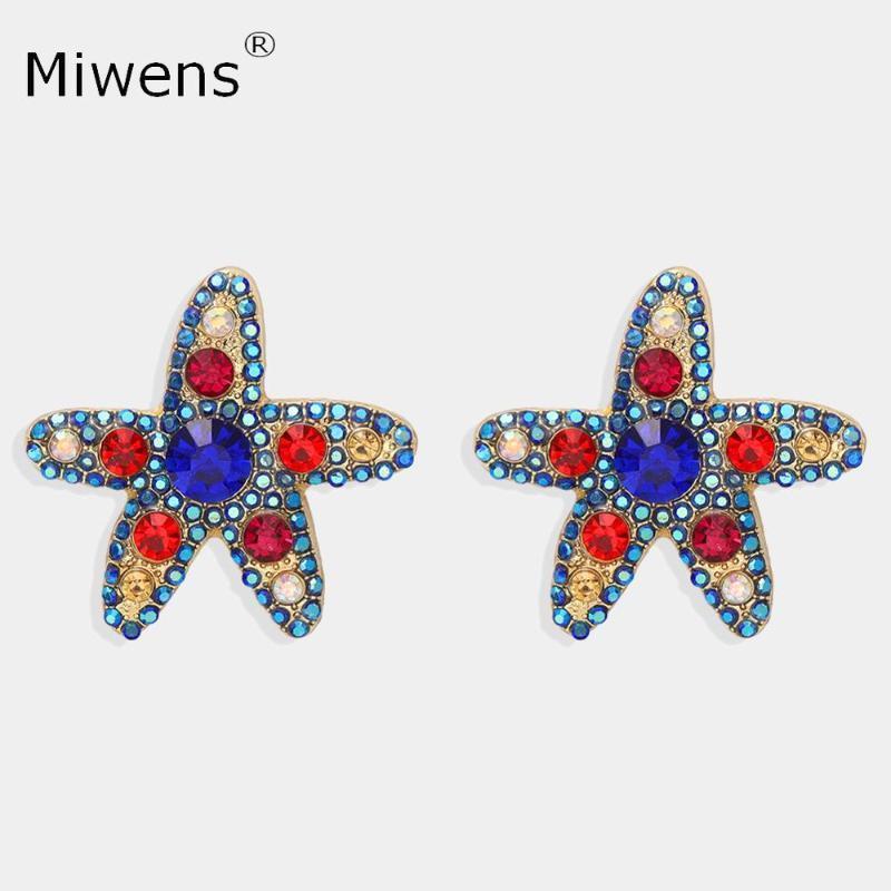 Baumel kronleuchter miwens bunte kristall stern ohrringe für frauen charme böhmischen sterne strass perlen stehung hängen ohrschmuck
