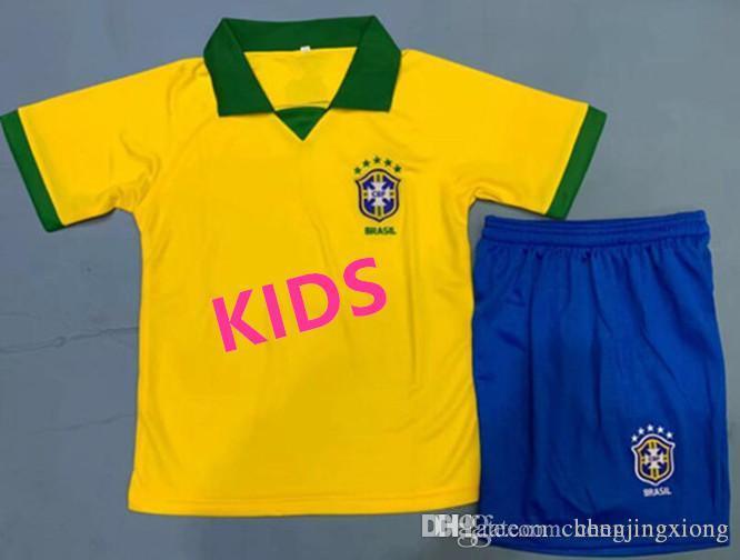 KIDS 2019 Brazil soccer jersey JR COUTINHO PAULINHO MARCELO G JESUS 19-20KIDS Brasil COSTA home away Short sleeve football shirts kit