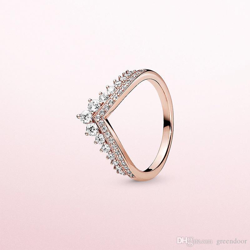 لباندورا 925 الفضة الاسترليني مع الماس CZ مطلي ارتفعت الساخنة الأميرة الرغبات خاتم من الذهب ذات جودة عالية خاتم السيدات سحر هدية العيد