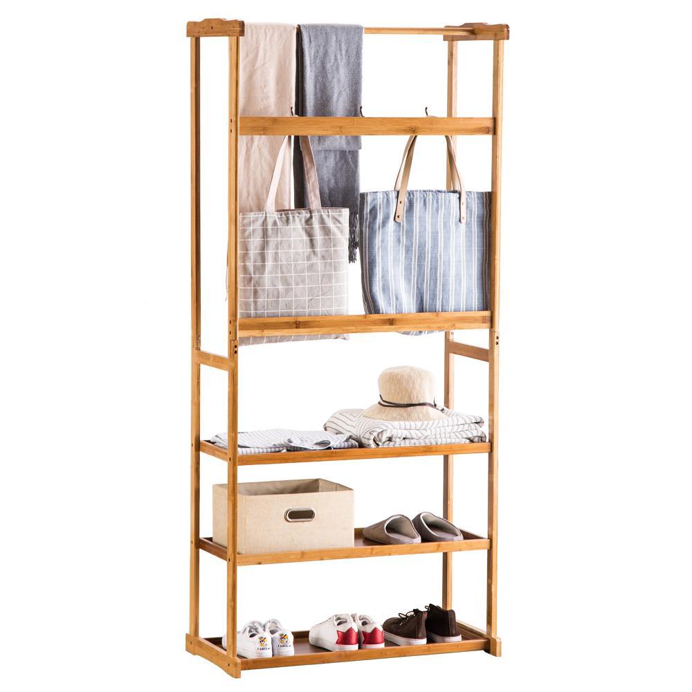 Em estoque! 80 cm de três camadas rack de bambu guarda-roupa de madeira de madeira casa de limpeza roupas para casa frete grátis