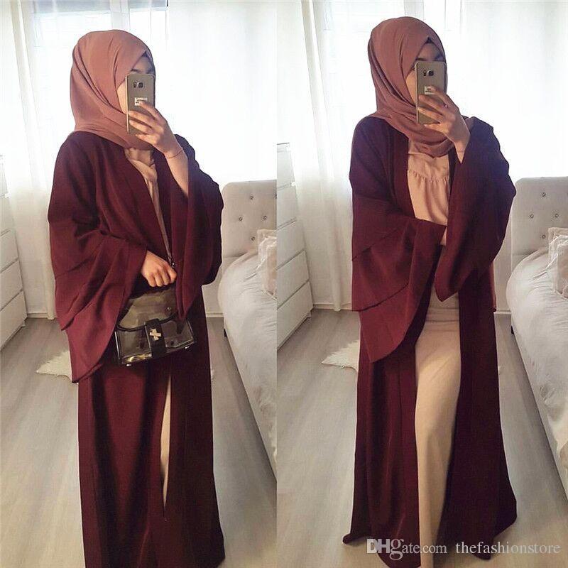 Yeni Mütevazı Müslüman Kadınlar Fırfır Kollu Abaya S-2XL Orta Doğu Kadınlar Romadan Düz Renk Kimono Hırka