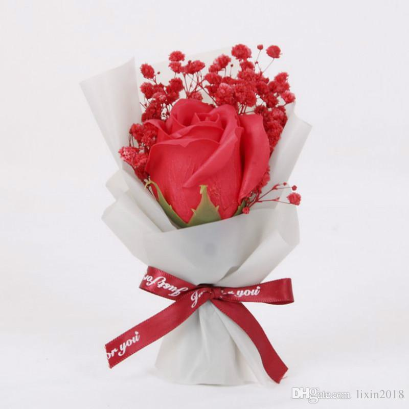 Artificial Flowers Soap Rose Mini Bouquet Hand Made Valentine/'s Day Gifts