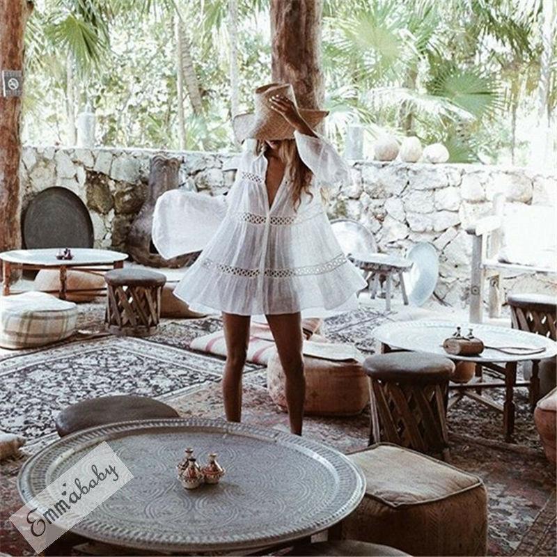 Сексуальные женщины Bikini Beach Cover Up Купальники Вязание Купальный лето короткое платье выдалбливают Белая обложка окна