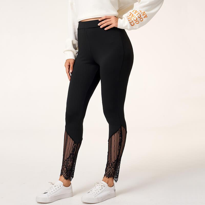 Toptan Kadınlar Spor Yoga Pantolon Yüksek Bel Dantel Patchwork Legging Kadınlar Elastik Trackpants Kadın Pantolon Koşu