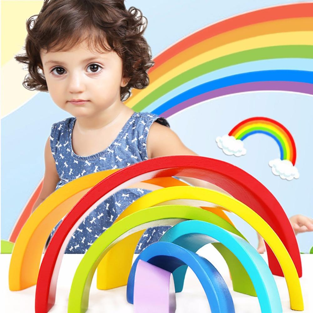 Legoly Asamblea de Arco Iris de Madera de Color Arco Puente Building Blocks mini Set Formas Clasificación Preescolar Juguetes Educativos wy30