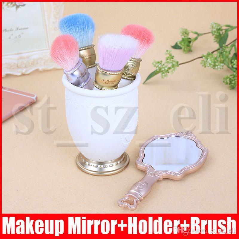 LES MERVEILLEUSES LADUREE 4pcs brush set + 1pc mirror + 1pc Brush Holder makeup Brush set