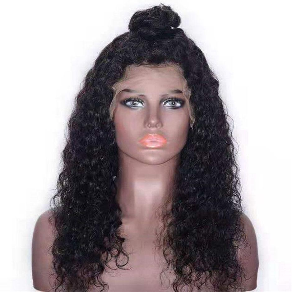 Brazilian Human Hair Lace Front Wigs with Baby Hair Pre Plucked Water Wave Bob Lace Wigs Natural Color