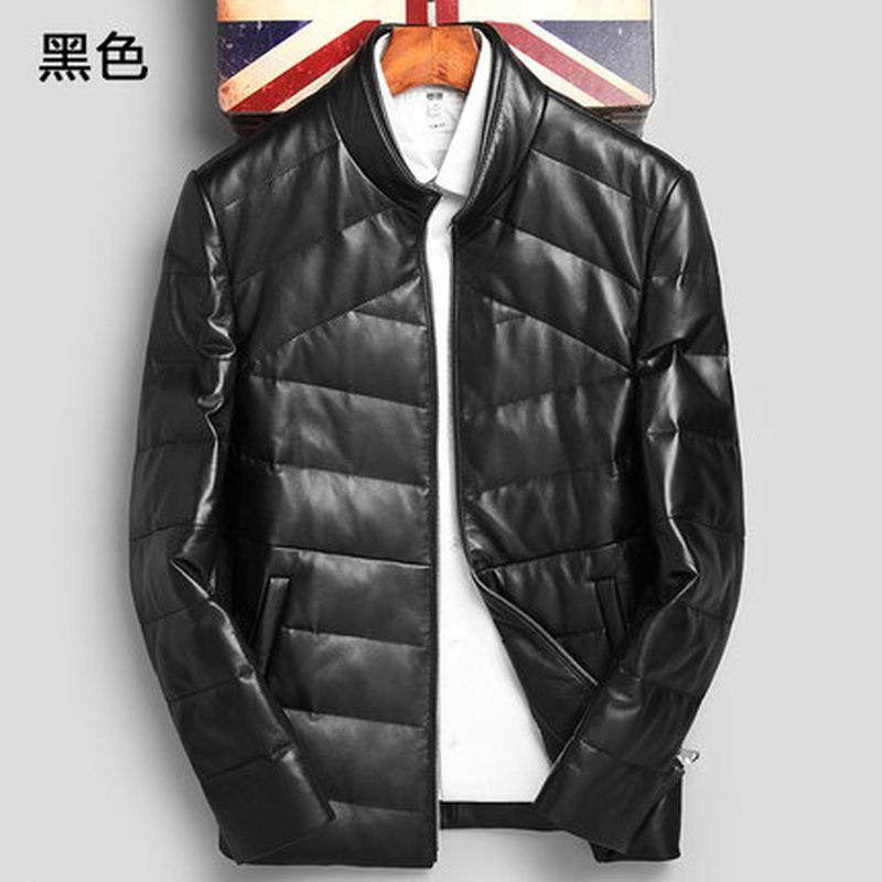 Moda de invierno para hombre Cuello alto de cuero genuino de piel de oveja gruesas chaquetas negras cálidas Hombre Otoño Inglaterra Estilo Parkas Abrigos largos