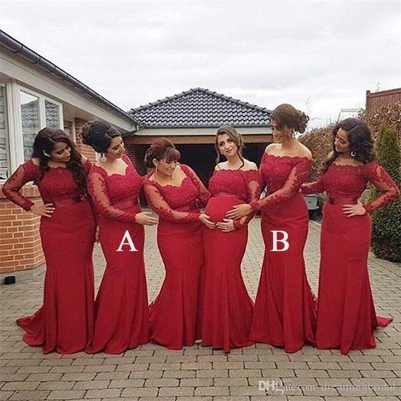 Рыжий с длинным рукавом русалка русалка платья выпускного вечера 2018 Mew длина пола кружева аппликация иллюзия свадебные платья невесты платье платье на заказ плюс размер