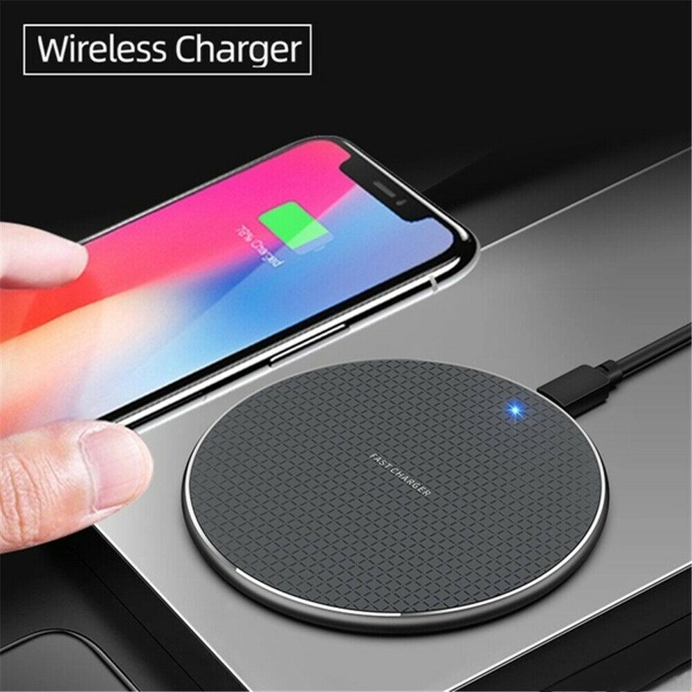 K8 Qi Wireless Pad Cargador 10W Súper carga ultrarrápida Muelle de aleación de aluminio del cuerpo del metal universal para todos los teléfonos inteligentes QI MQ10
