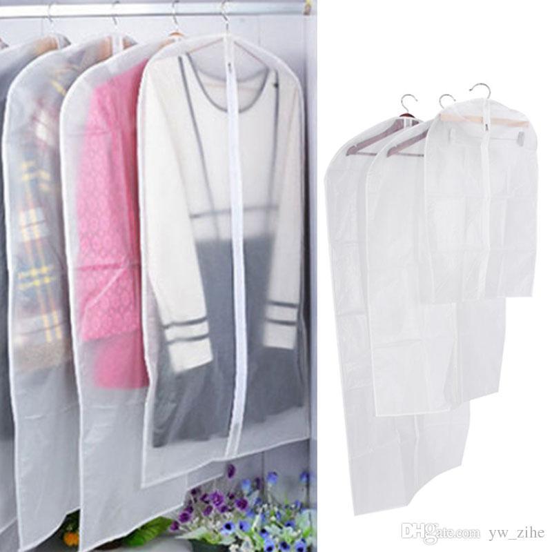 3 Sizes Transparent Clothes Protector Storage Bag Hanging Garment Suit Dust Cover Wardrobe Organizer Women Dress Storage Bag DT0020