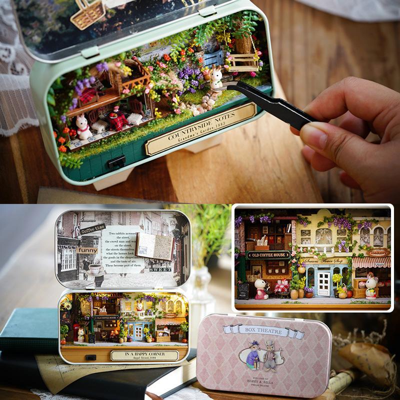 مربع مسرح موضوع الحنين مشهد خشبي مصغرة لغز لعبة ديي بيت الدمية اثاث الريف ملاحظات س سلسلة # E
