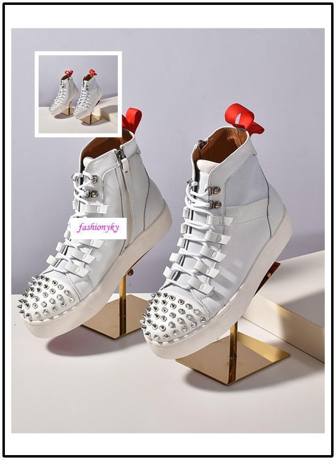 Scarpe TOP NUOVO Krystal Spike Calzino Donna piatto Sneakers Mens Red Bottoms donne Rivet Spiky calzino Junior Spikes piatto calza il formato 35