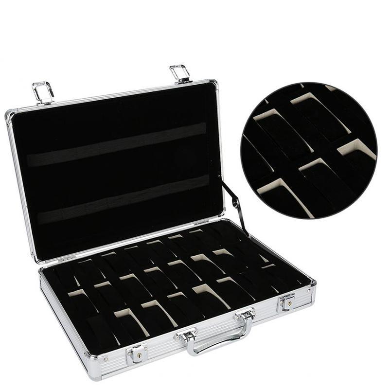 Boîte d'affichage de stockage Suitcase Grid Horloge Montre 24 Regardez la boîte de rangement Boîte d'horloge en aluminium FJMSF