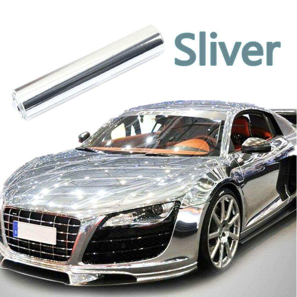 El último alto espejo de plata del espejo del cromo estirable Hoja flexibles abrigo del vinilo de rollos de película de coches etiqueta engomada de la hoja 200 * 1520mm