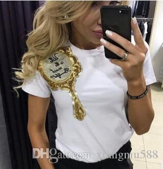Новые летние женские футболки футболки топы блестками вышитые шею мода тонкий с коротким рукавом футболки хлопок повседневная женская одежда # 9020
