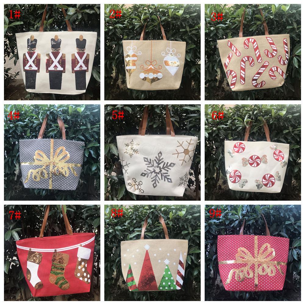 spalla del progettista 9styles Natale Ragazze paillettes borse Xmas Shopping Bag Borse Grande Capacità di memoria signore Totes Natale FFA3224-1
