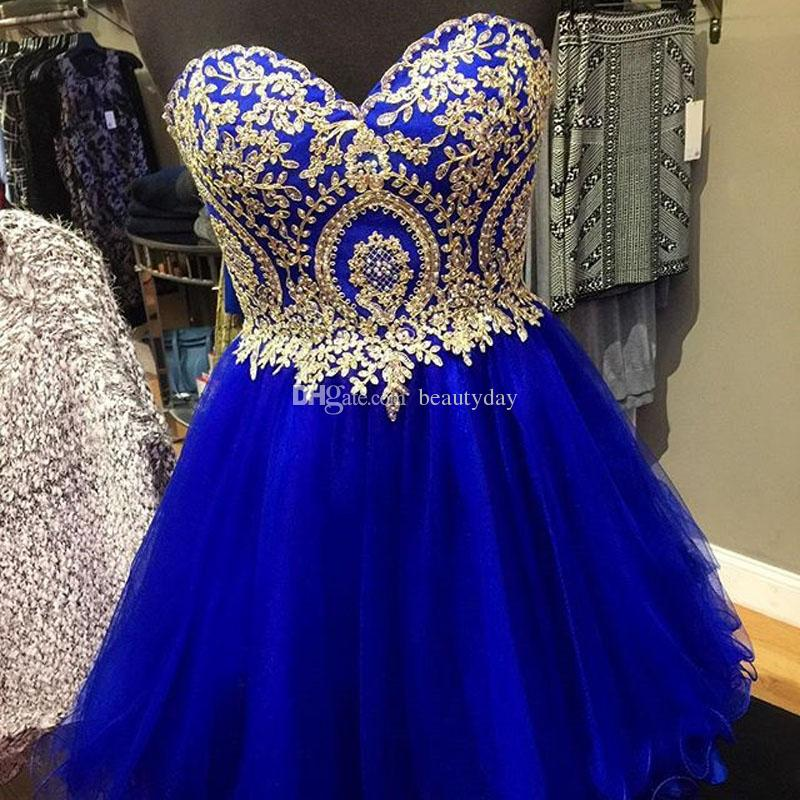 Royal blue Abiti Homecoming Breve Prom Party Gown A Line Oro Tulle Nero bordeaux navy Perline Cristalli Cocktail Party Pizzo Indietro Indietro