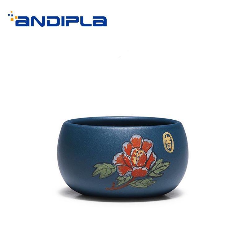 65ml Yixing Purple Clay Teacups Hand Painted Peony Natural Zisha Green Mud Cup Bowls Office Master Tea Cups Teaware Drinkware