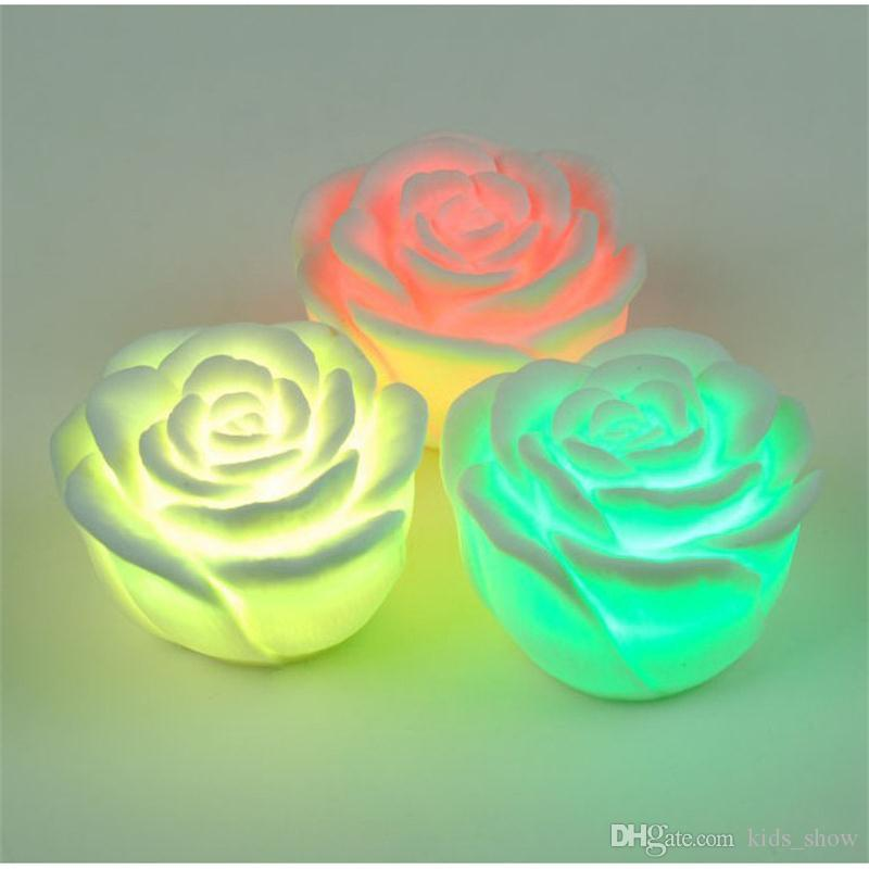 changeable color led rose flower candle lights smokeless flameless roses led lamp valentine day christmas party decorations