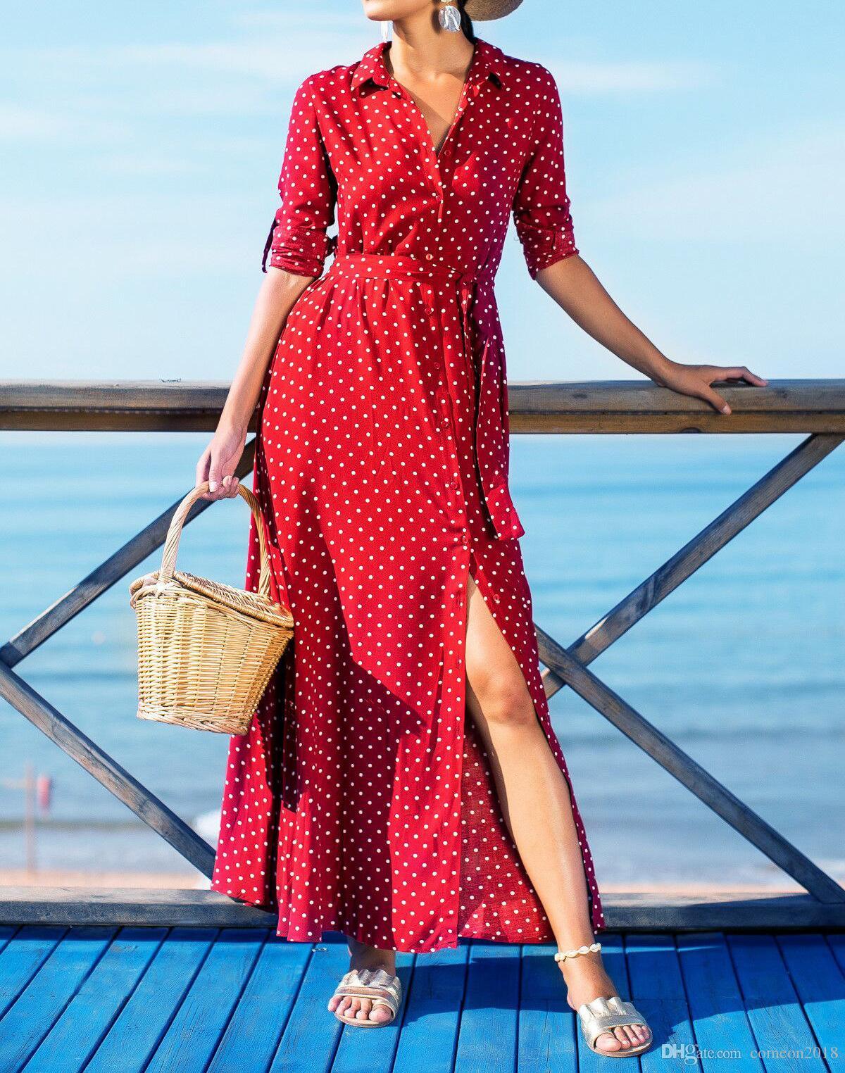 Designer Women Clothes 2019 Fashion Women Polka Dot Summer Maxi Dress Split Short Sleeve Loose Evening Party Long Beach Dress Vestidos
