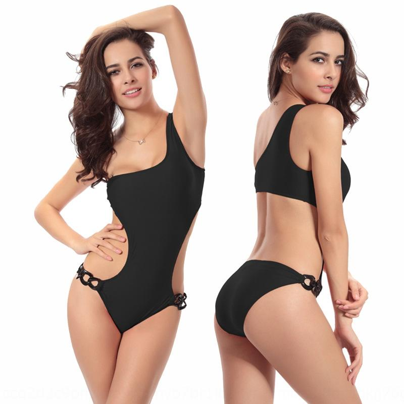 2020 unique six-ring show S-curve beautiful one-shoulder one-piece swimsuit high-grade chest-gathering large size swimsuit VS010