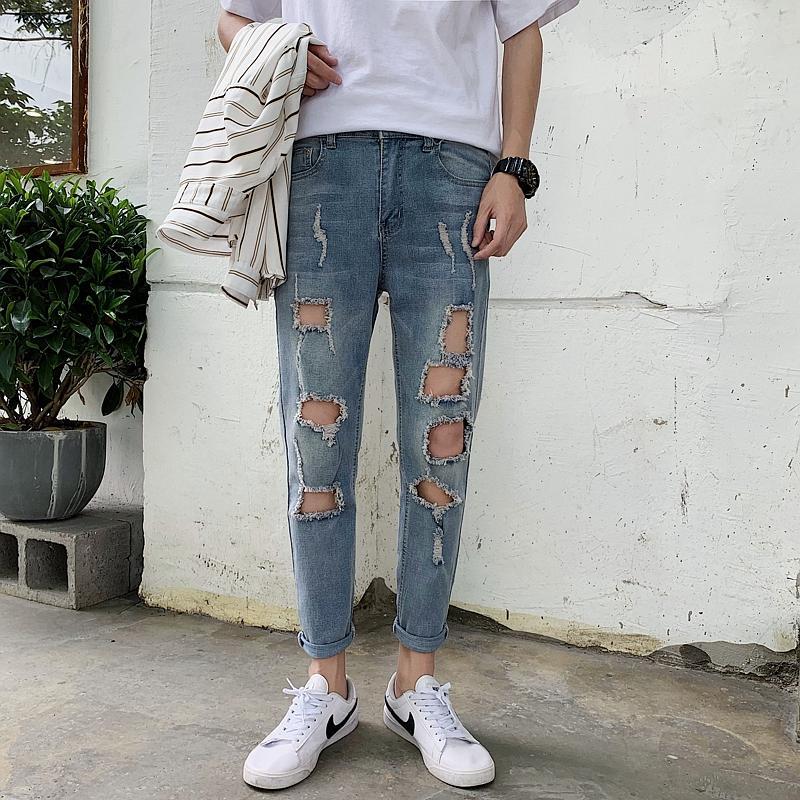 Moda Verão Jeans Homens Streetwear Rasgado Calças de Brim Dos Homens Tornozelo Comprimento Buraco Slim Fit Casual Biker Denim Calças 33-28