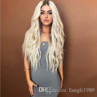 Long Curly Wig Ombre White Hair Heat Resistant Sythentic Cosplay Wig Full Wig for Women