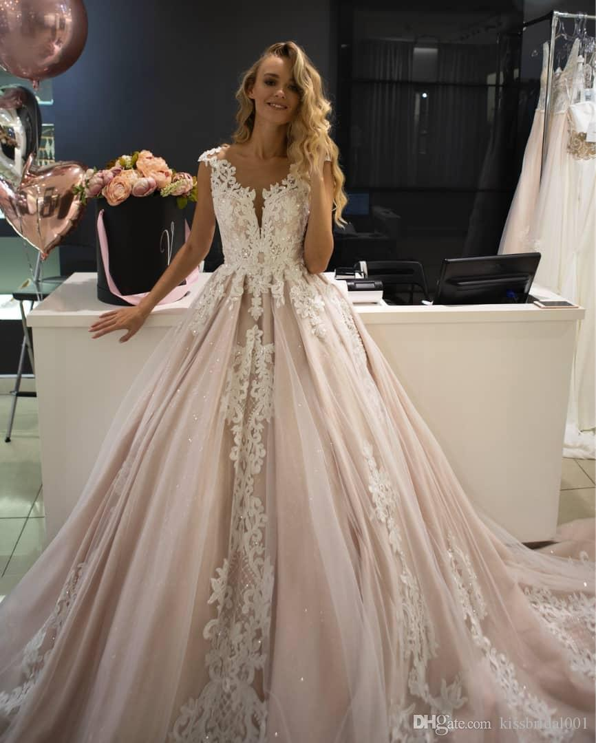 Beaded Lace Wedding Dresses 2019 Blush Pink Illusion Neckline Cap Sleeve Sheer Lace Appliques Wedding Dress Bridal Gowns Bride Formal Gown Affordable