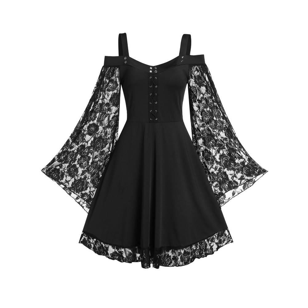 ROSEGAL Kalte Schulter-Schatz-Ansatz mit Spitzeneinsatz Kleid Frauen-Spitze mit langen Ärmeln einer Linie Fest Halloween-Weihnachtsfest-Robe