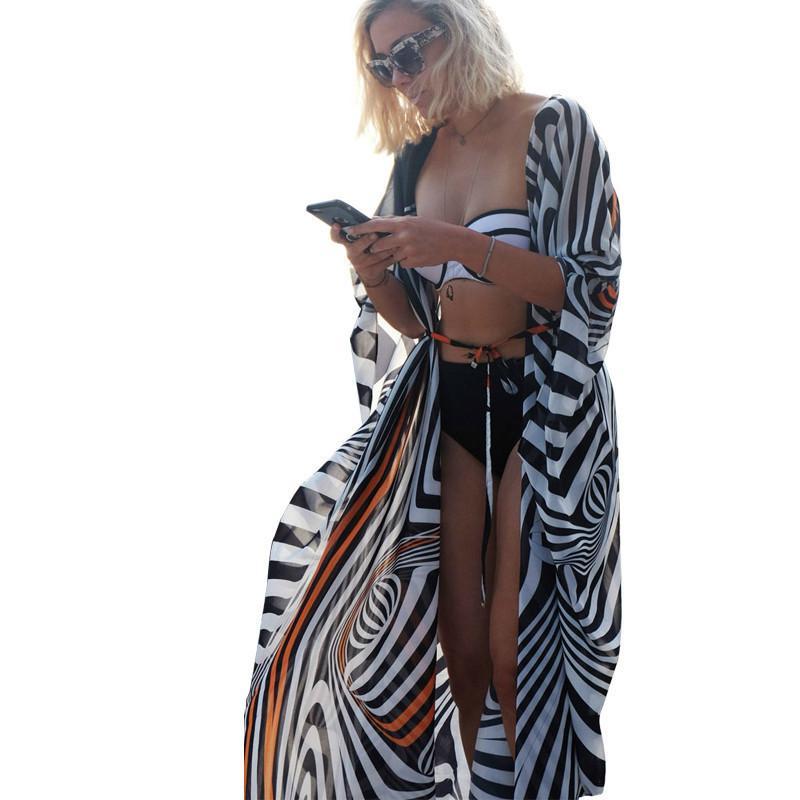 Chiffon da spiaggia di grandi dimensioni Copricostume a strisce Scollo a pipistrello Kimono Costume da bagno Giacca lunga in maglia Costume da bagno estivo Overhead Più caldo Y19071201