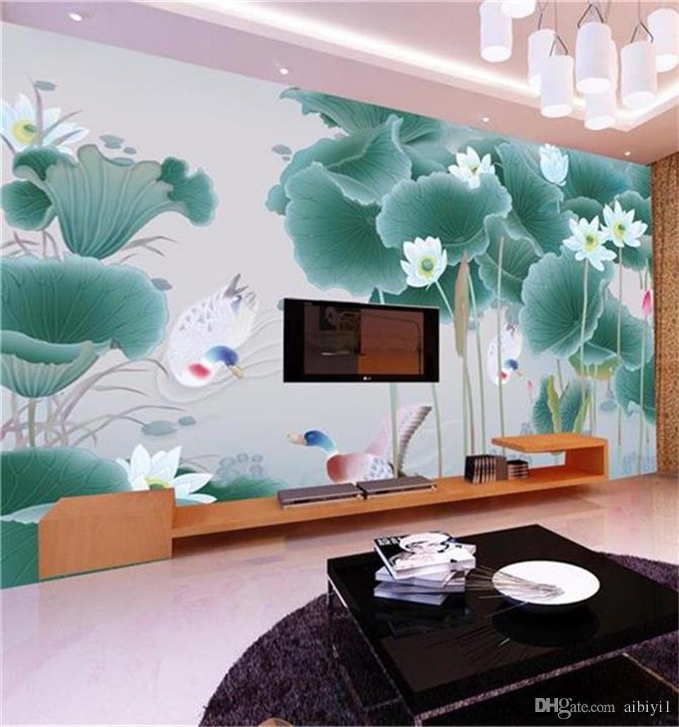 custom size 3d photo wallpaper living room mural Hand-painted Lotus Flower Duck 3d picture sofa TV backdrop wallpaper non-woven wall sticker