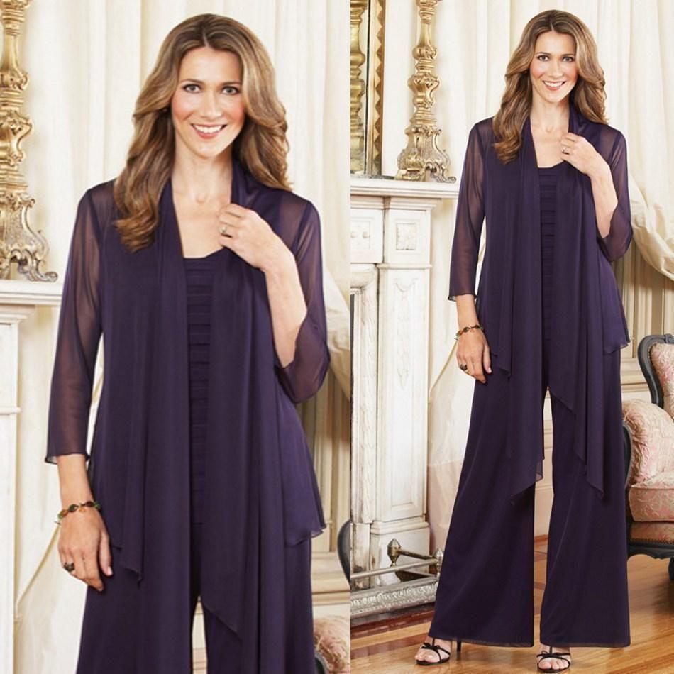 großhandel plus size kleider für die brautmutter hose anzüge mit jacke lila  outfits maßgeschneiderte chiffon langarmmutter kleider des bräutigams von